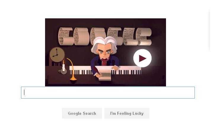 Hình ảnh doodle của Google kỷ niệm sinh nhật thứ 245 của Beethoven