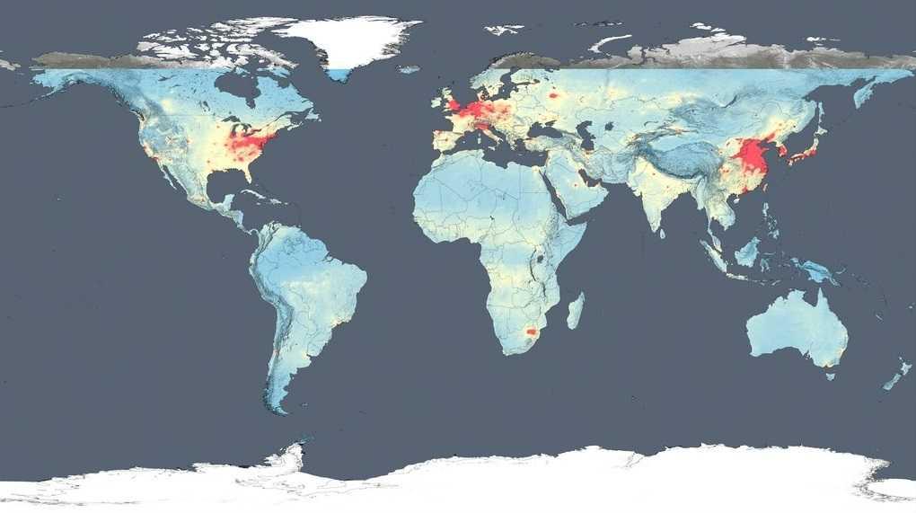 Bản đồ ô nhiễm không khí năm 2005 do NASA công bố