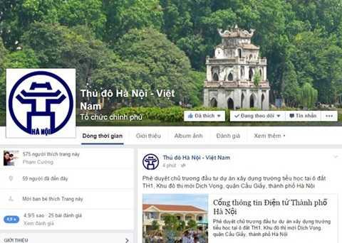Trang Facebook của UBND TP Hà Nội