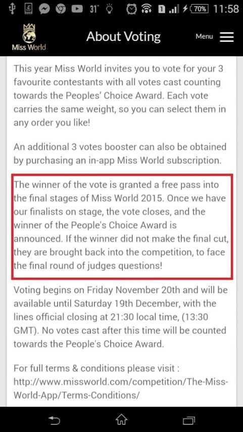 Những thay đổi được thông báo trên trang web chính thức của ban tổ chức Hoa hậu thế giới 2015.