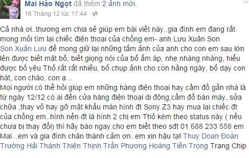 Thông tin chị Mai chia sẻ trên facebook - Ảnh chụp màn hình