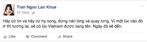 Lan Khuê động viên khán giả đừng nản lòng và đừng quay lưng với các cuộc thi sắc đẹp, sẽ có lúc Việt Nam được xướng tên trên các đấu trường sắc đẹp