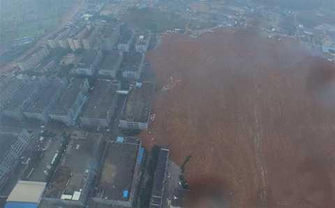 Vụ lở đất kinh hoàng tại Thâm Quyến nhìn từ trên cao