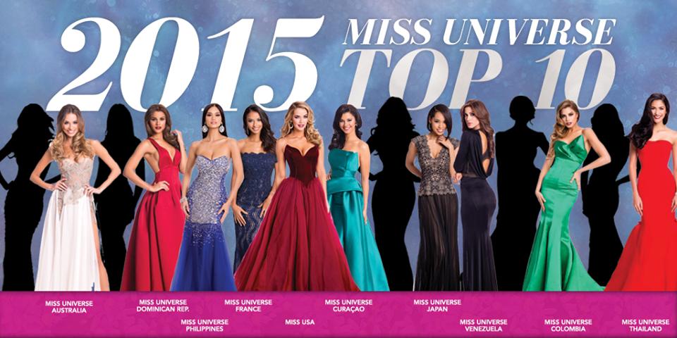 Top 10 Miss Universe 2015: Úc, Dominica, Phillippines, Pháp, Mỹ, Curacao, Nhật Bản, Venezuela, Colombia, Thái Lan