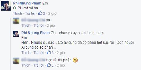 Nữ ca sĩ Phi Nhung bàng hoàng trước kết quả của Phạm Hương, cô chia sẻ suy nghĩ trên trang cá nhân của một người bạn.