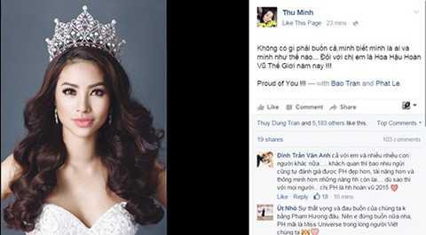 Thu Minh cũng động viên Phạm Hương vượt qua nỗi buồn vì với khán giả Việt, Phạm Hương đã là Hoa hậu Hoàn vũ thế giới năm nay.