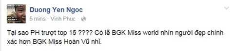 Dương Yến Ngọc bất bình trước kết quả của Miss Universe 2015.