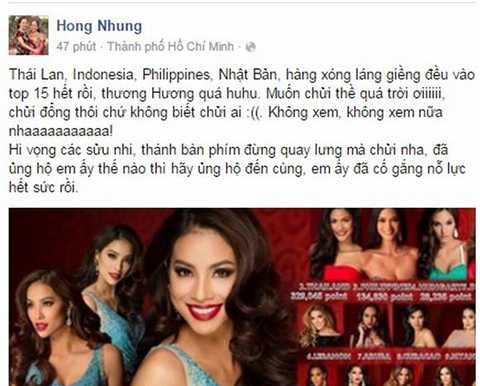 Diva Hồng Nhung bức xúc trước kết quả không thuyết phục của Miss Universe 2015.