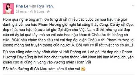 Cùng chung cảm xúc ấy, nữ ca sĩ Pha Lê cảm thấy hãnh diện về đại diện nhan sắc của Việt Nam.