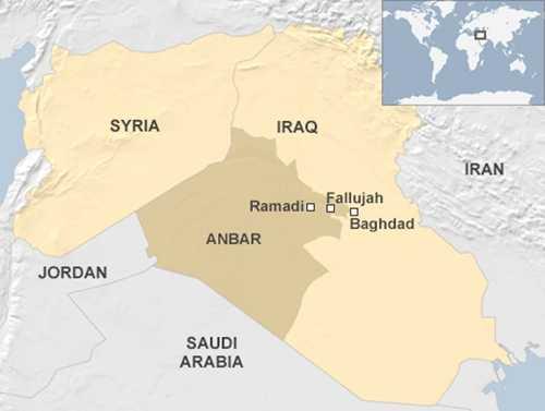 VỊ trí thành phố Ramadi, thủ phủ tỉnh Anbar. Đồ họa: BBC.