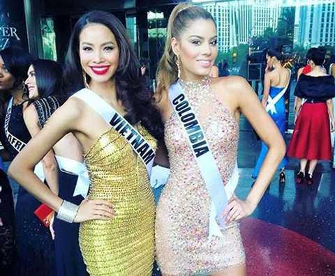 Hoa hậu Colombia cũng là một người bạn khá thân thiết với Phạm Hương trong cuộc thi Miss Universe 2015.