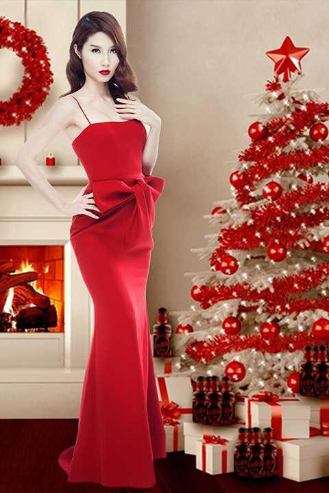 Bên cạnh đó, một thiết kế dành riêng cho vai diễn Diễm My 9X trong phim của NTK trẻ Lâm Gia Khang mang gam màu Noel với hoạ tiết nơ 3D to bản tạo điểm nhấn, giúp ngoại hình của Linh San thêm phần lộng lẫy.