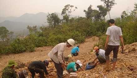 Trên bãi vàng Bồng Miêu. Ảnh: Dân Trí