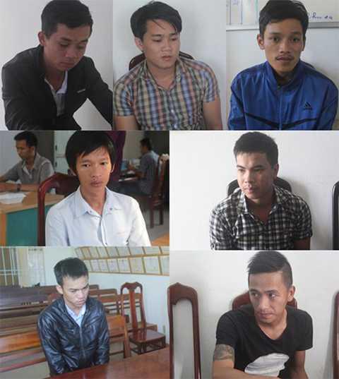 Nhóm cướp 7 tên vừa bị bắt. Ảnh T.H