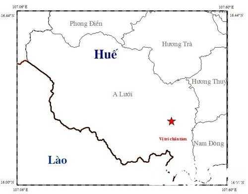 Vị trí xảy ra động đất tại huyện A Lưới ngày 25/12.