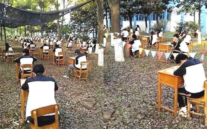 Tháng 4/2015, ban lãnh đạo một trườngtrung học ở thành phố Cẩm   Châu, tỉnh Hồ Bắc, cũng áp dụng phương pháp này. Hiệu trưởng nhà trường   quyết định tổ chức kỳ thi cuối kỳ trong rừng với mong muốn giúphọc sinh vượt qua nắng nóng để làm bài tốt và chống gian lận. Ảnh: Daily Mail.