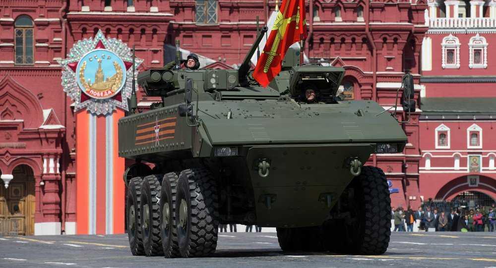 Xe bọc thép Nga trong lễ duyệt binh trên Quảng trường Đỏ