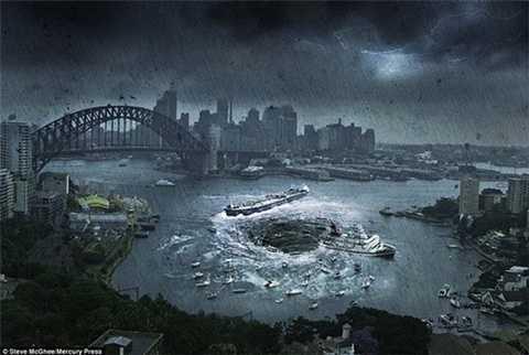 Khung cảnh tàu thuyền bị hút vào một hố tử thần khổng lồ ở bến cảng Sydney (Australia)