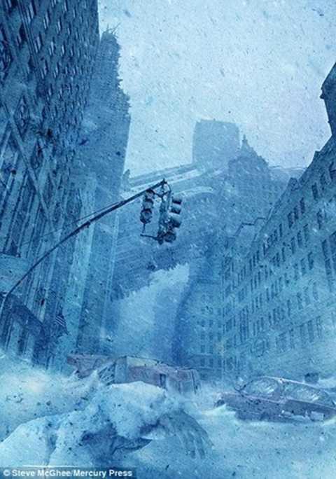 Một thành phố bị nhấn chìm trong làn mưa tuyết và băng đá dày đặc