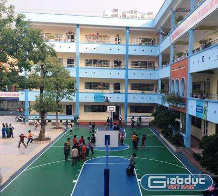 Một góc sân vui chơi cho học sinh Trường tiểu học Đoàn Thị Điểm (cơ sở 2 - Mỹ Đình). Ảnh: Phan Thiên