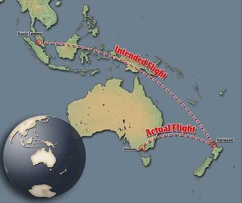 Mô tả lộ trình bay bị trệch hướng của MH132