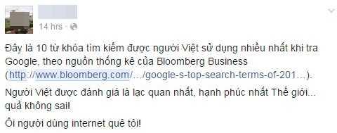 Một chia sẻ của người dùng Facebook về bài viết của Bloomberg