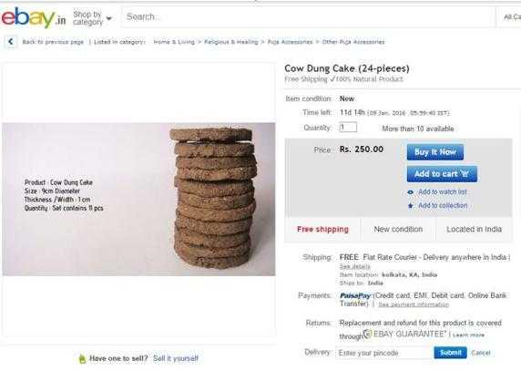 Bánh phân bò được rao bán trên eBay