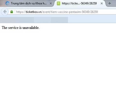 website đăng kí tiêm chủng qua mạng của Trung tâm y tế dự phòng Hà Nội bị nghẽn, không thể truy cập