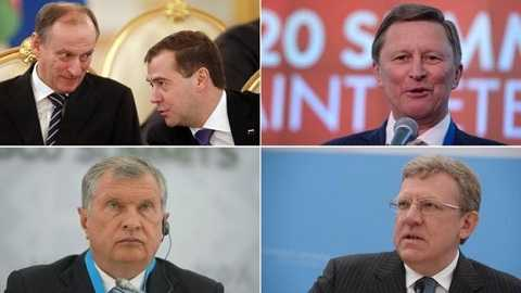 Bộ 5 trợ thủ đắc lực của Tổng thống Nga Putin (theo chiều kim đồng hồ từ trái, phía trên): Nikolai Patrushev và Dmitry Medvedev, Sergei Ivanov, Alexei Krudin, Igor Sechin