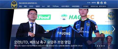 Trang chủ Incheon United chọn hình ảnh lễ ký kết hợp đồng với Xuân Trường làm thông tin chính, đầu tiên.