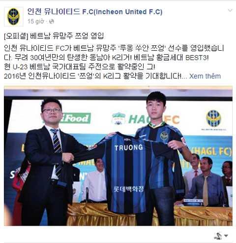 Fanpane của Incheon United đăng tải thông tin lễ ký hợp đồng của CLB với Xuân Trường.