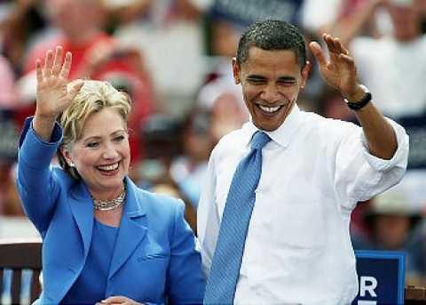 Cựu Ngoại trưởng Hillary Clinton và Tổng thống Mỹ Obama