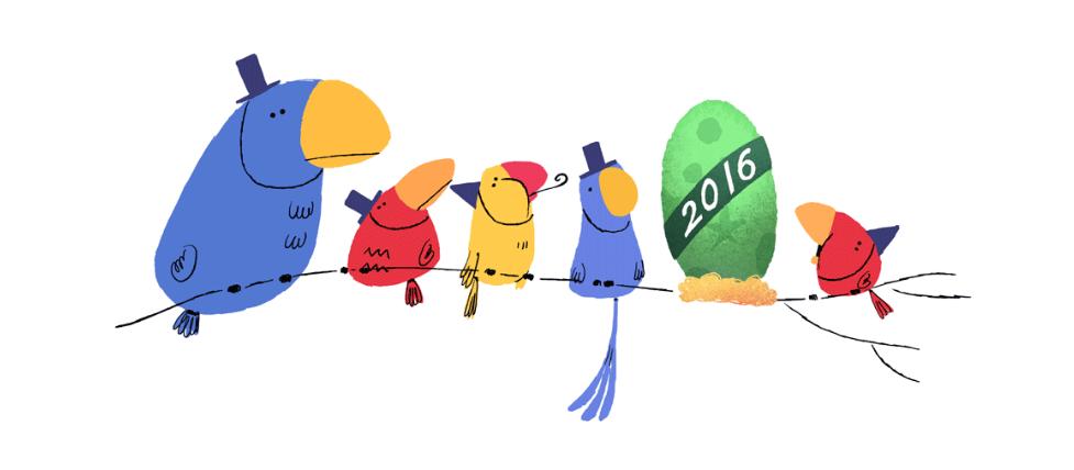 Doodle chào đón đêm giao thừa 2015 với hình ảnh quả trứng vui mắt
