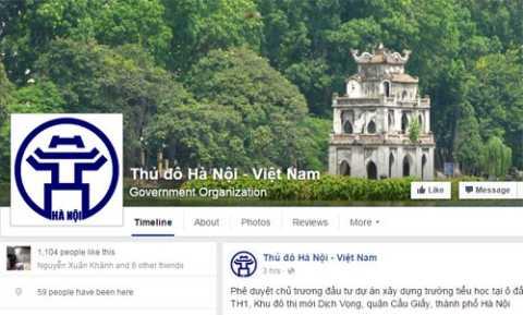 Facebook có tên Thủ đô Hà Nội - Việt Nam, bắt đầu hoạt động từ tháng 12/2015. Việc cung cấp thông tin của UBND TP Hà Nội qua Facebook nhằm tăng cường đẩy mạnh kênh cung cấp thông tin các hoạt động chỉ đạo, điều hành của UBND TP nhanh nhất tới người dân, tổ chức và các cán bộ, công nhân viên chức, lao động của thành phố để kịp thời nắm rõ chủtrương, chính sách của Nhà nước và thành phố.