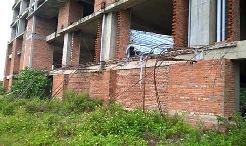 Bên trong khu dự án, cỏ dại mọc um tùm, sắt thép công trình hoen rỉ. Ảnh: Nguyễn Dương.