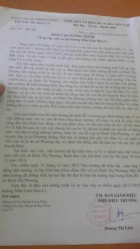 Báo cáo tường trình của trường mầm non Hoa Ly (Ảnh: Thanh Hải)