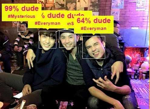 Soi độ chuẩn men: Sau How-old, giới   trẻ tiếp tục bị thu hút bởi phần mềm soi độ nam tính How-dude. Theo ứng   dụng này, độ đẹp trai, dễ thương, thu hút... của các chàng trai được   tính theo phần trăm. Trong ảnh, 3 hot boy của 5S Online đều ở mức trên   50%.
