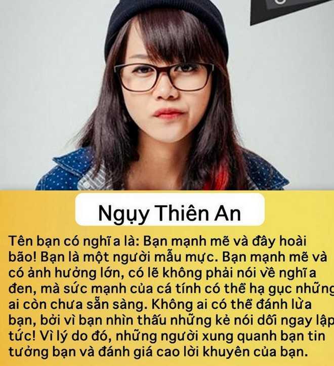 Đoán tính cách qua tên: Cộng đồng mạng Việt tiếp tục tham   gia trào lưu đoán tính cách qua tên thật. Đây là ứng dụng vui từ   Facebook. Người dùng chỉ cần nhấn vào đường link, gõ tên và tính cách sẽ   được hiện ra trong ít phút. Tuy nhiên, với sự đồng bộ và tính ngẫu   nhiên, kết quả chỉ mang tính giải trí, không thực sự chính xác.