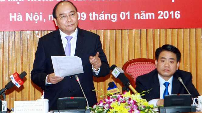 Phó thủ tướng Nguyễn Xuân Phúc tại buổi làm việc với TP.Hà Nội ngày 9/1 Ảnh: Ngọc Thắng