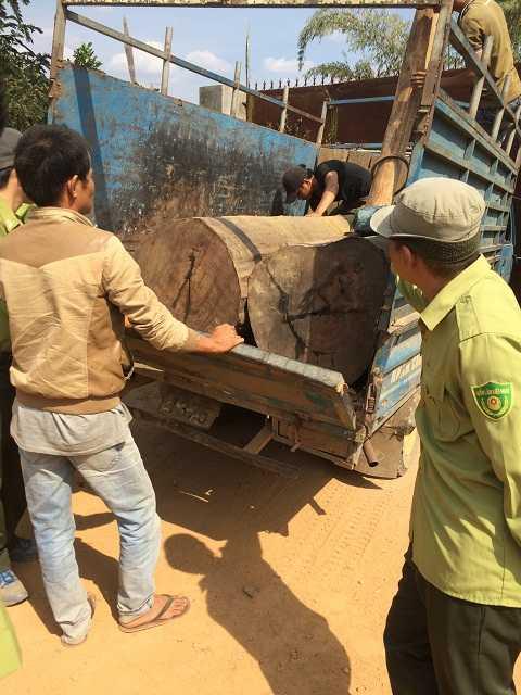 Xe ô tô tải chở gỗ bị bắt. (Ảnh : Quang Tùng)