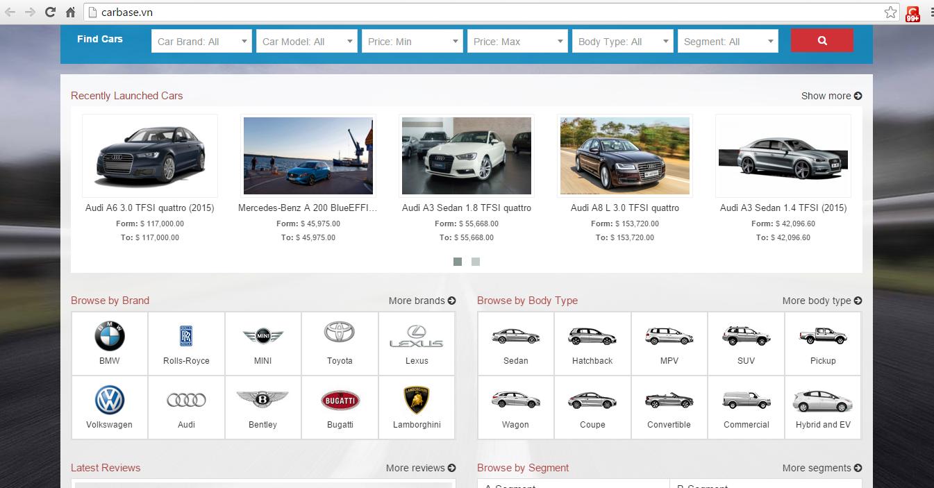 Giao diện website carbase.vn phân loại và sắp xếp các mẫu xe theo: thương hiệu, kiểu dáng, phân khúc,… khác biệt hoàn toàn với các website, diễn đàn xe hơi hiện nay sắp xếp tin bài theo thời gian