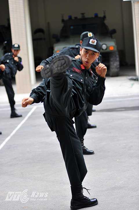 Những thế võ chiến đấu hiệu quả luôn được các chiến sĩ CSĐN ngày đêm rèn luyện.