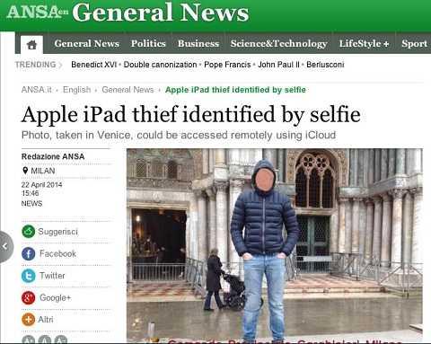 Bị bắt sau khi chụp ảnh tự sướng trên chiếc iPad đánh cắp