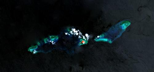 Khu vực đảo Thị Tứ, thuộc quần đảo Trường Sa của Việt Nam. Ảnh: NASA