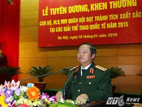Đại tướng Đỗ Bá Tỵ phát biểu tại buổi lễ - Ảnh: Hồng Pha