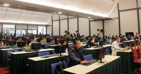 Rất đông phóng viên báo chí tham dự đưa tin về Đại hội. (Ảnh: Quang Tùng)