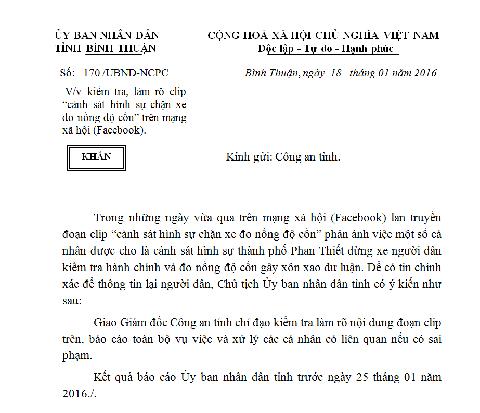Công văn khẩn UBND tỉnh Bình Thuận đề nghị Công an tỉnh làm rõ vụ việc, có báo cáo trước ngày 25/1/2016