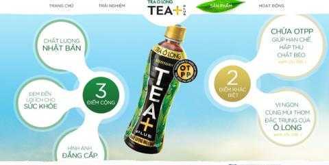 Trà Ô long TEA+ Plus được quảng cáo là sản phẩm được sản xuất với chất lượng Nhật Bản