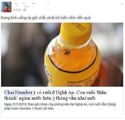 Chia sẻ của người tiêu dùng trên mạng xã hội khi biết được thông tin về Number One 'ngâm' ruồi, Sting dâu 'ướp' nhện