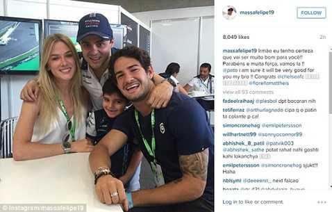 Bạn thân của Pato, tay đua F1 Felipe Massa đã công khai chuyện cầu thủ này gia nhập Chelsea
